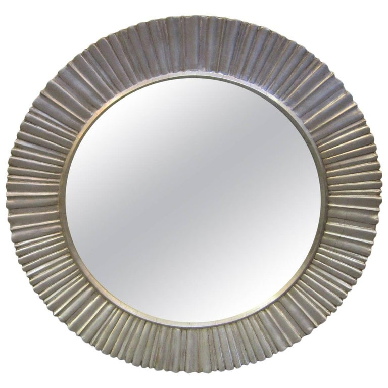 Large Mid-Century Modern Hand Carved and Silver Leaf Soleil /Sunburst Mirror For Sale