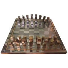 Magnificent Romeo Rega Brass Chrome Chess Set with Board Mid-Century Modern