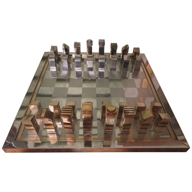 Magnificent Romeo Rega Brass Chrome Chess Set with Board Mid-Century Modern
