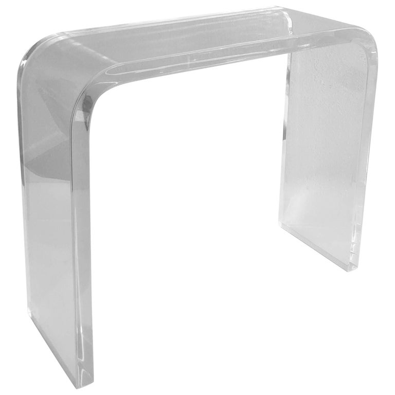 Clear Lucite Waterfall Console Table by Charles Hollis Jones