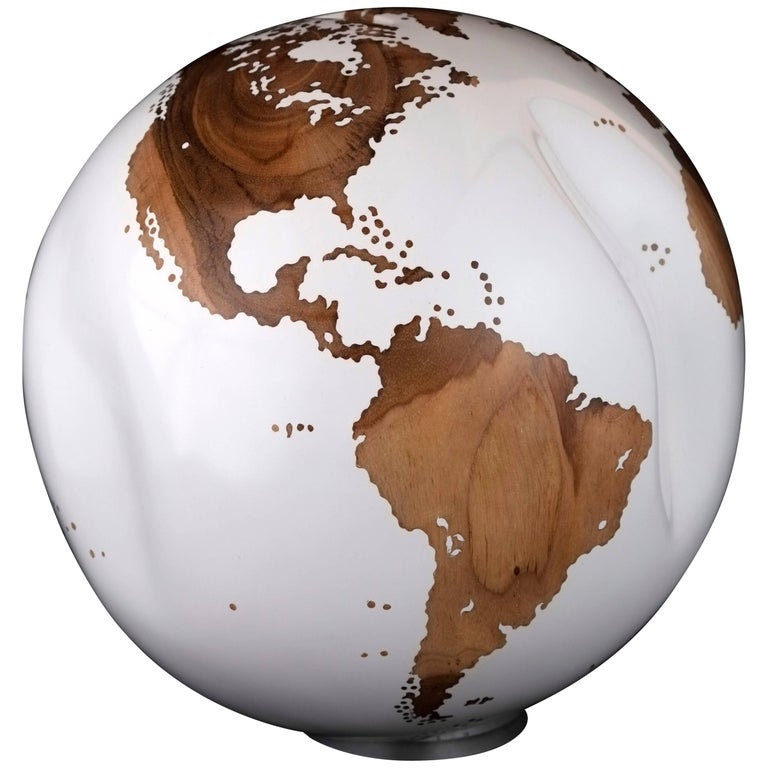 Contemporary Wooden Globe from Teak Root with Acrylic White Resin Finish, 20 cm
