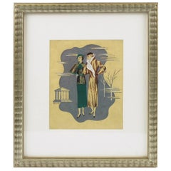 French Edouard Halouze 1920s Art Deco Fashion Illustration Drawing