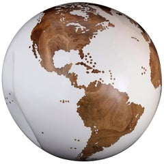 Classic Teak Root Globe with Acrylic White Resin Finishing, 25 cm