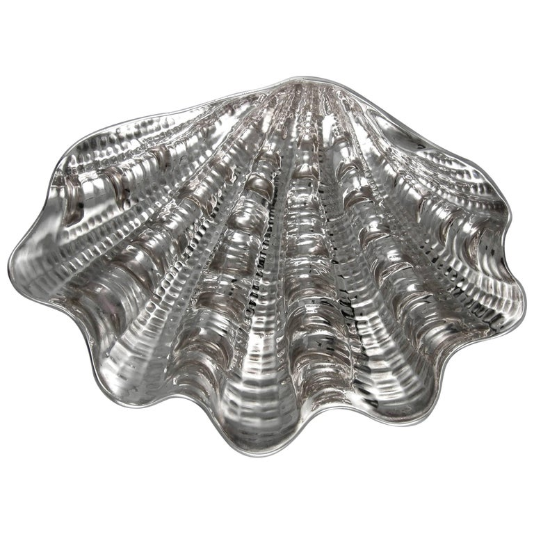 Sterling Messulan Giant Footed Clam Shell Dish For Sale