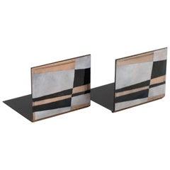Robert Wuersch 1950s Modernist Enamel on Copper Bookends