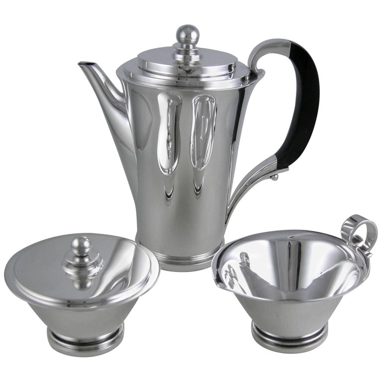 Sterling Georg Jensen Pyramid Three-Piece Coffee Set, 1930 For Sale