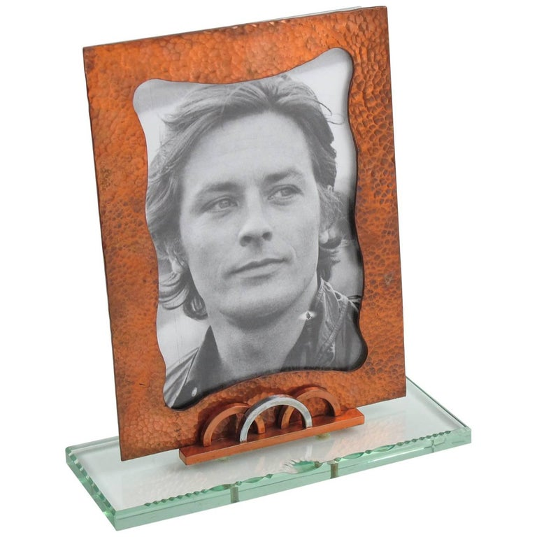 French 1940s Geometric Picture Photo Frame Copper and Glass Slab