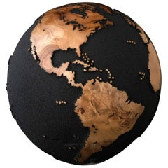 Classic Volcanic Sand HB Globes Made of Teak Root 25cm