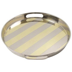Modernist Barware Round Chrome and Brass Bar Serving Tray