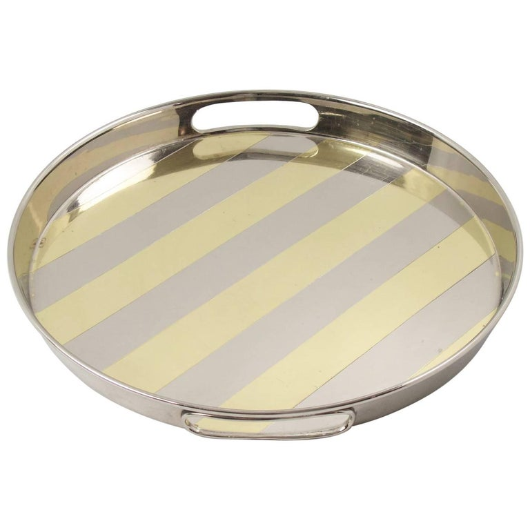 Modernist Barware Round Chrome and Brass Bar Serving Tray