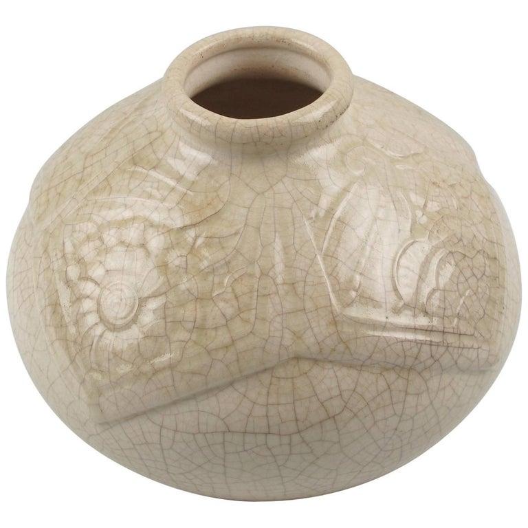 French Saint Clement 1930s Art Deco Crackle Glaze Ceramic Vase