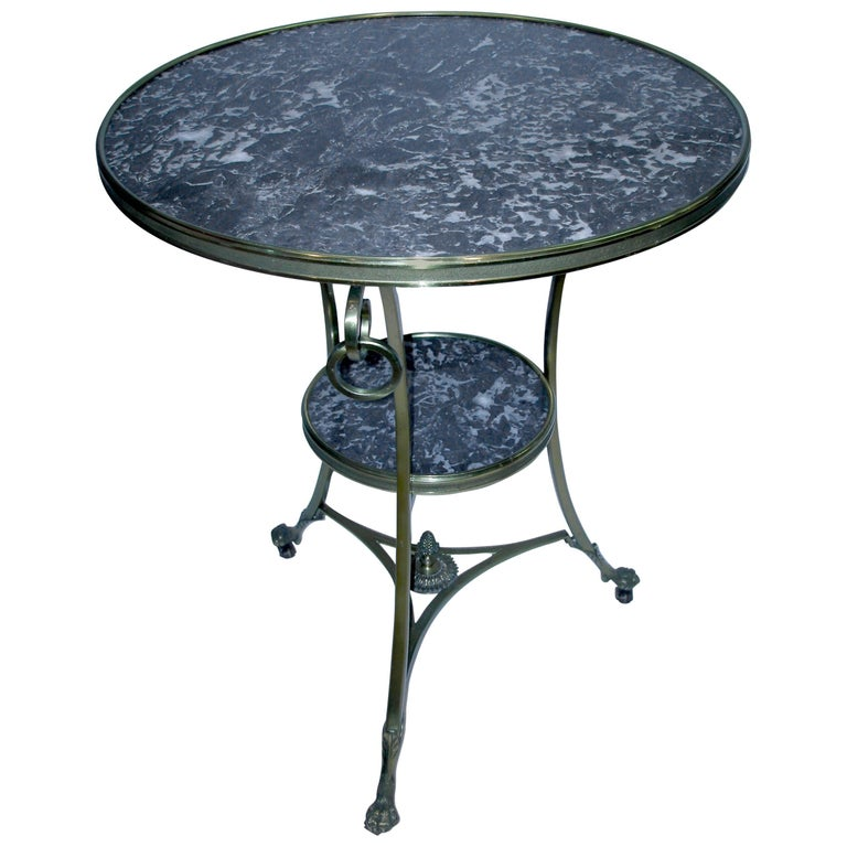 Black Marble Gueridon/Side Table on Wheels For Sale