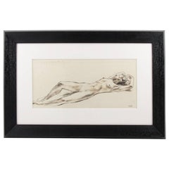 French Robert Cami 1950s Ink Wash Drawing Lying Nude Study