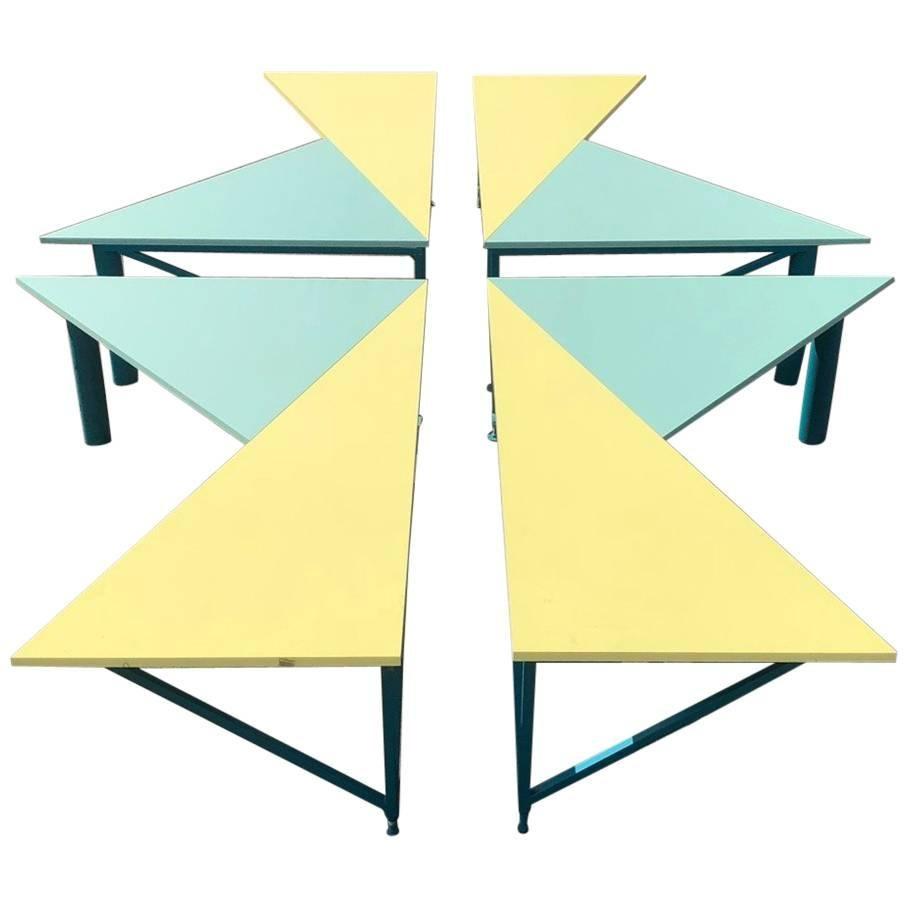 Set of Four Asymmetrical Architect Writing Desks, 1990s