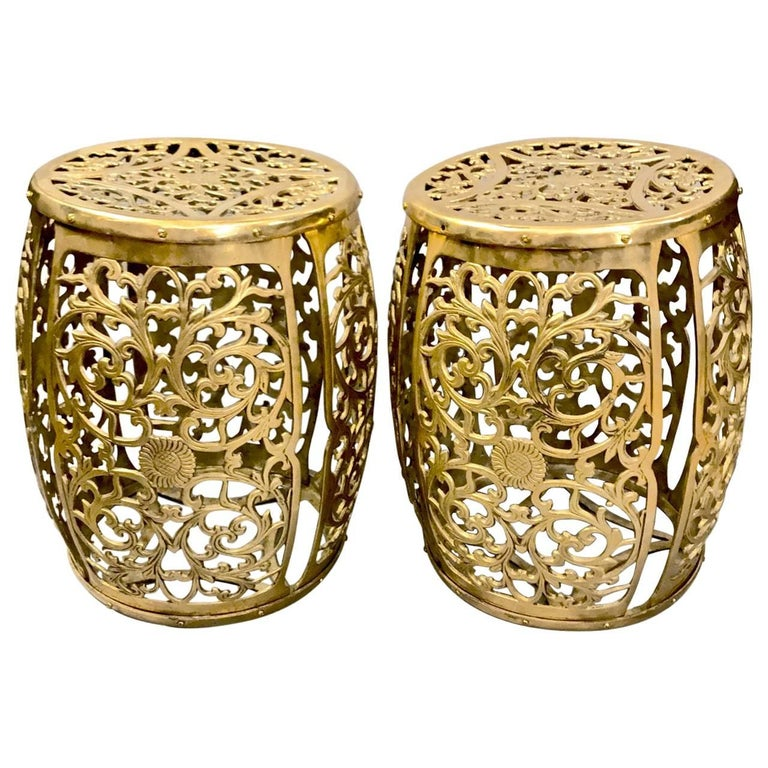 Pair of Cast Brass Garden Stools, Scrolling Vines, circa 1960