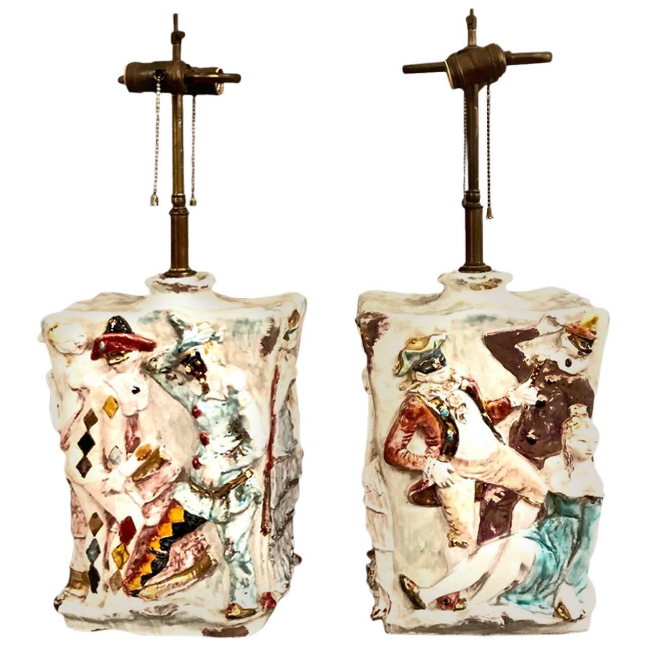 "Pair of Eugenio Pattarino ""Venetian Carnival"" Lamps"