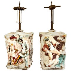 "Pair of Eugenio Pattarino ""Venetian Carnival"" Lamps"