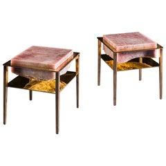 Paar Handgefertigte Beistelltische aus pinkfarbenem Onyx von Gianluca Pacchioni
