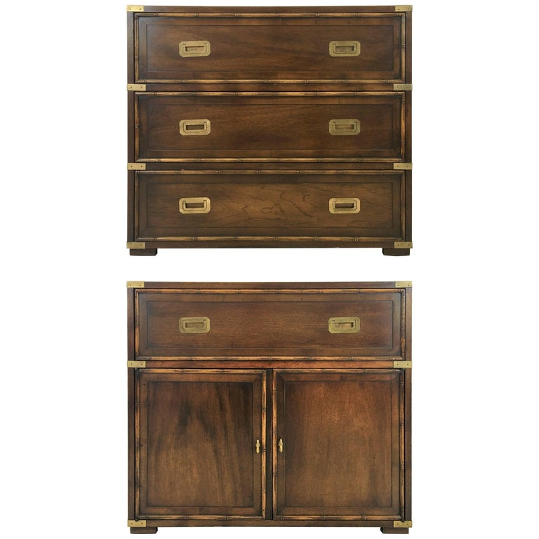 Pair of Campaign Dressers by Hekman Furniture