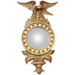 Convex Mirror with Eagle Wood Gilt with Golden-Leafed, 1950-1970