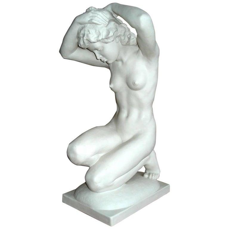 Hutschenreuther Large Porcelain Woman Figure Signed Karl Tutter For Sale