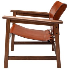 Contemporary Saddle Up Armchair in Tan Saddle Leather and Natural Walnut