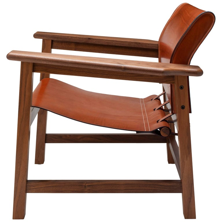 Contemporary Saddle Up Armchair in Tan Saddle Leather and Natural Walnut For Sale