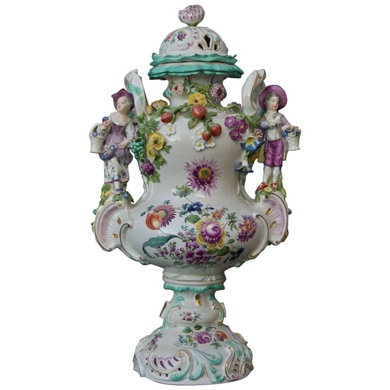 Large Meissen Lidded Vase Sculptured Decorations, circa 1850