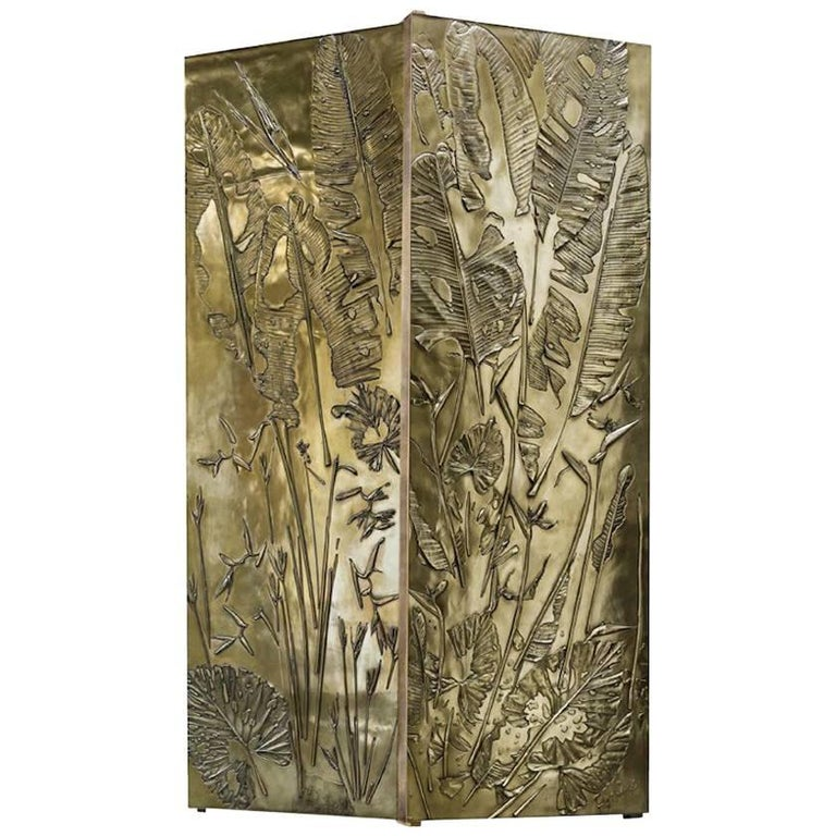 'Tropical Fossil III' Monumental Bronze and Brass Screen by Gianluca Pacchioni For Sale