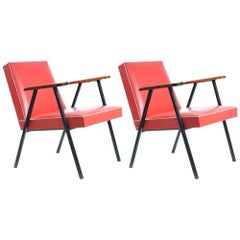 1950s Red Leatherette Armchairs, Czechoslovakia