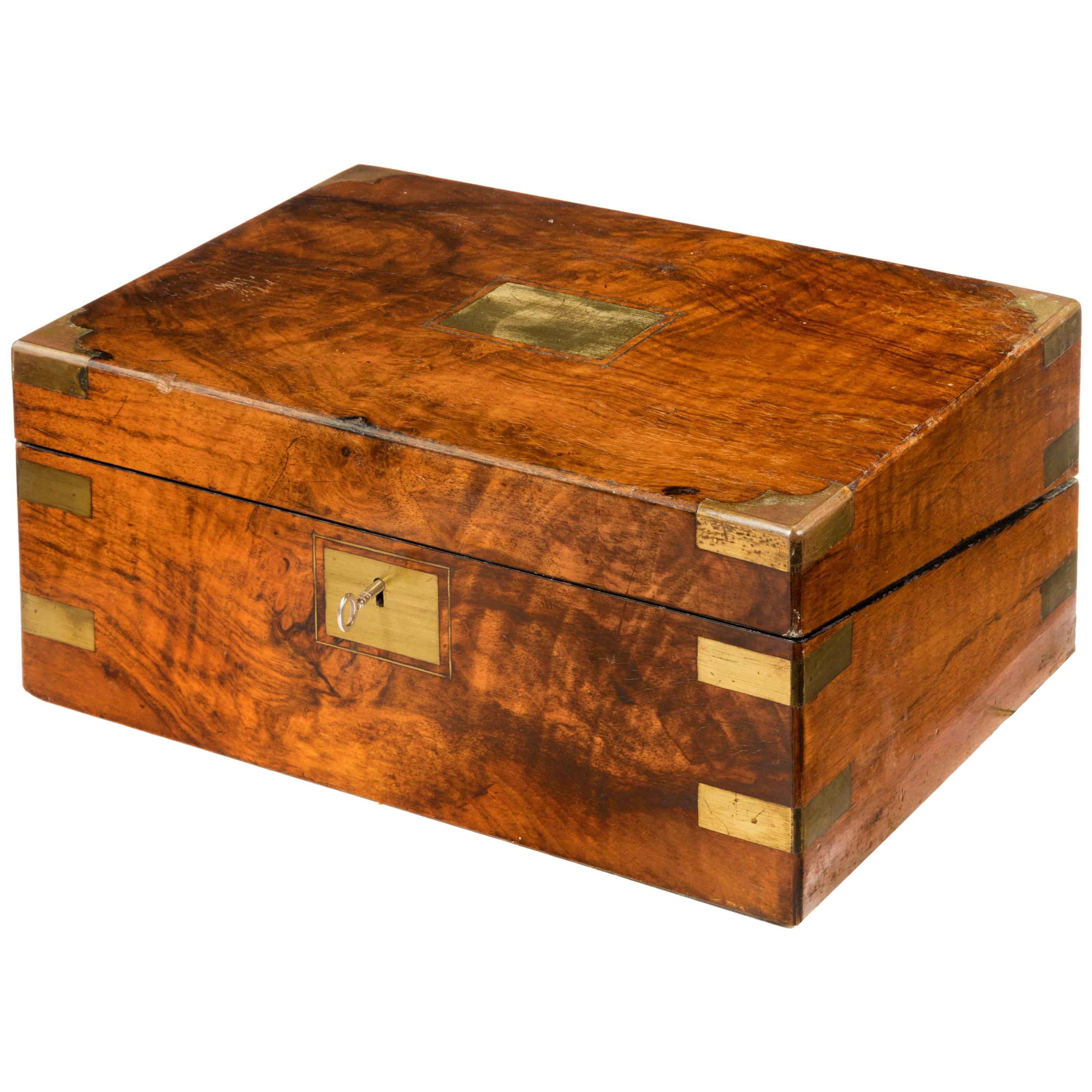 Boxes/chests Antiques Precise Vintage Wooden Writing Slope With Brass Corners And Escutcheon*