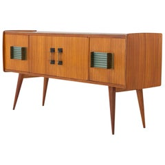 Italian Modern Mahogany Glass Iron and Brass Credenza, 1950s Sideboard Enfilade