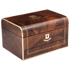Victorian Walnut Double Brass Strung Jewelry Box, 19th Century