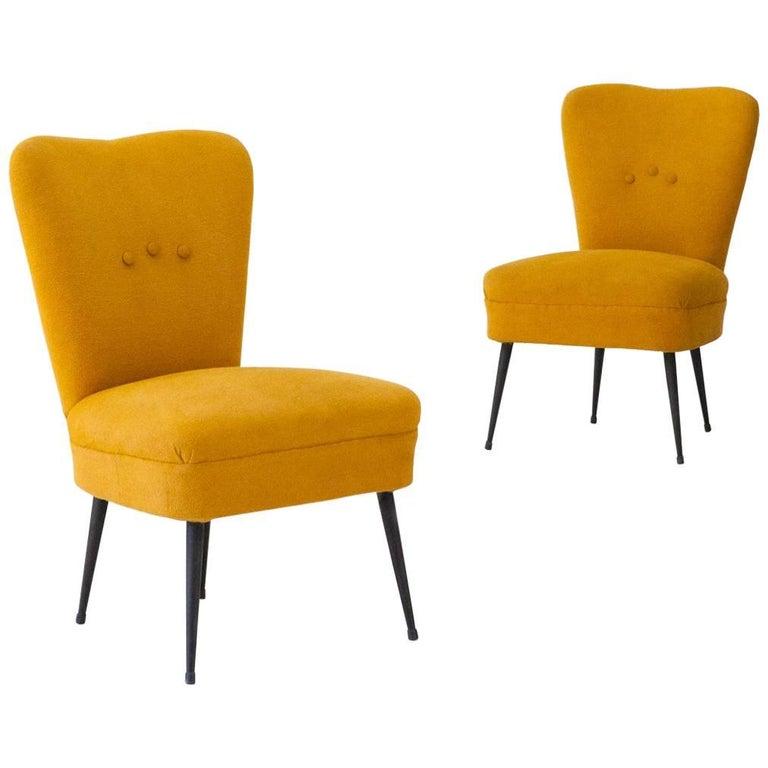 Pair of Italian Easy Chairs Senape Yellow Fabric and Black Iron Legs, 1950s