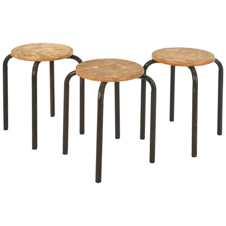 Set of Wood and Metal Painter Stools in the Style of Jean Prouvé, France 1950's For Sale