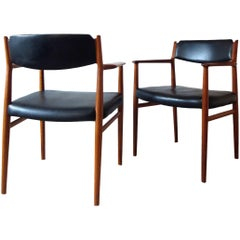 Arne Vodder Sibast Model 418 Danish Dining Teak & Leather Chairs , Set of 2, 60s