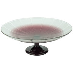 French Art Deco Charles Schneider Frosted Amethyst Glass Coupe