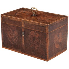 Antique Harewood Tea Chest with Burr Yew Medallions, 18th Century