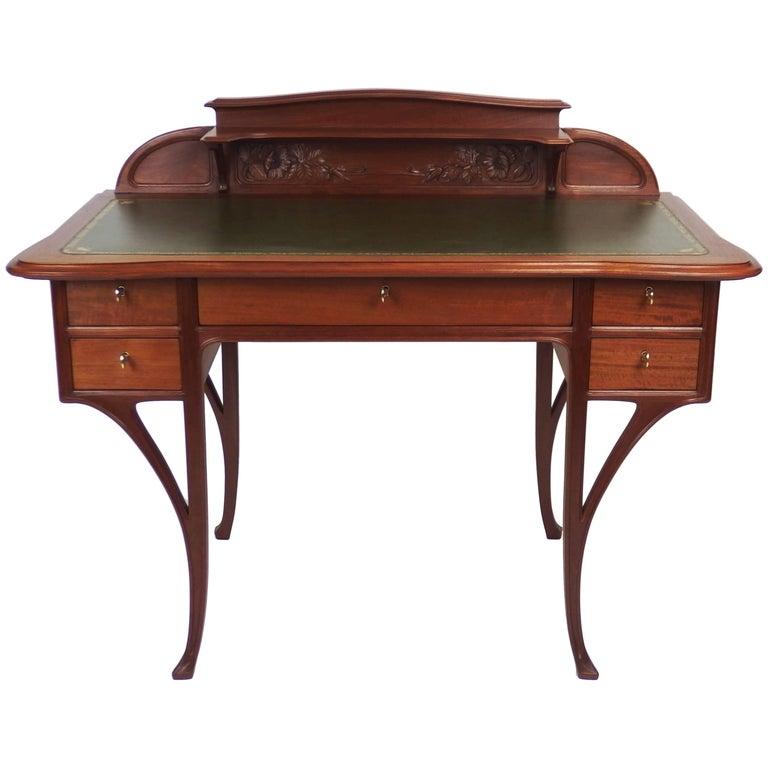 Art Nouveau Mahogany Desk by Edouard Diot