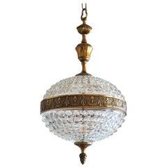 Vintage Art Glass Brass Ball Chandelier or Lantern, 1960s