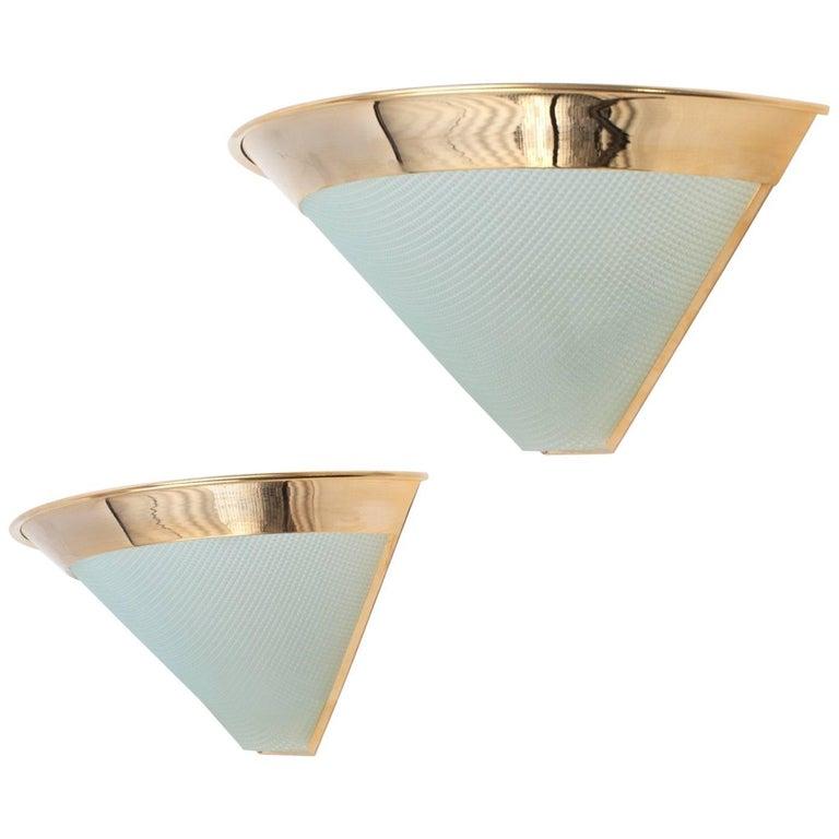 Sleek Stilnovo Gilt Brass and Glass Sconces, Italy 1980's