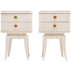 Pair of Cream Lacquered Nightstands Attributed to Suzanne Guiguichon
