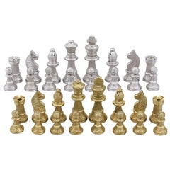 1970s Sterling Silver and Silver Gilt Chess Set