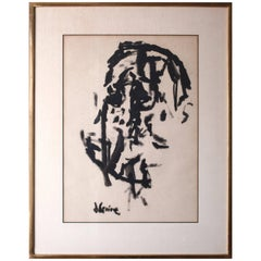 Rare Cubist Painting by Jack Levine, Ink on Paper, Signed