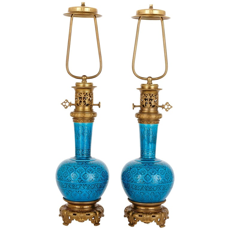 Pair of French Turquoise Faience Lamps by Theodore Deck, in the Persian Style