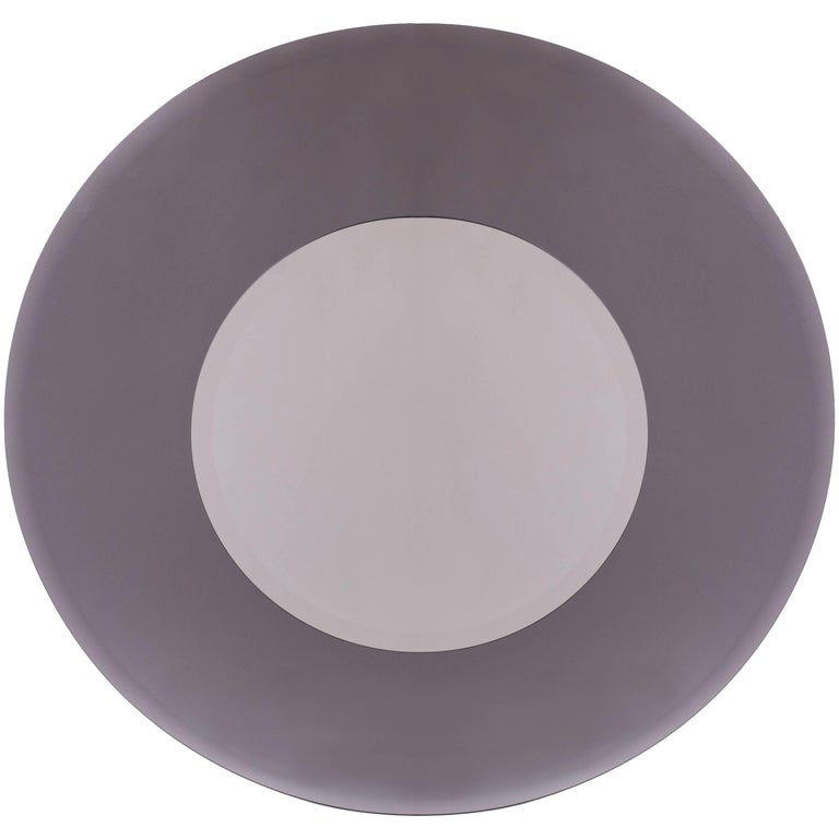 Circular Beveled Sfumato-Grey Mirror in the Manner of Fontana Arte, Italy 1970's