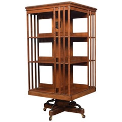 Walnut Three-Tier Revolving Bookcase