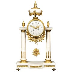 White Marble Mantle Clock by Julien Le Roy Paris