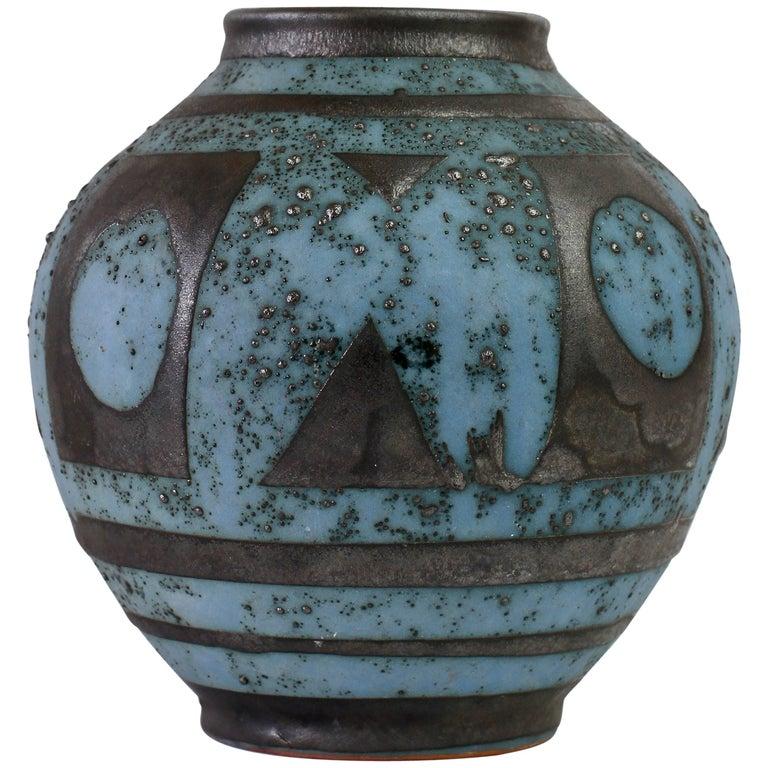 Carstens 'Ankara' Vintage Midcentury Graphite and Blue West German Vase, 1950s