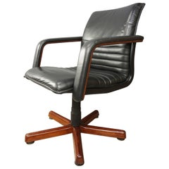Wooden and Leather Swivel Office Armchair